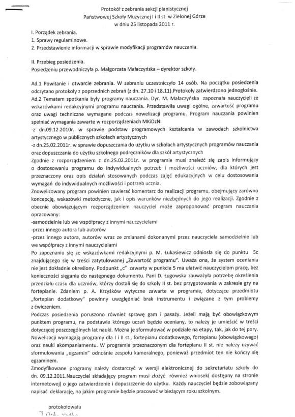 Zebranie sekcji pianistycznej PSM w Zielonej Górze, protokół Iwony Ochniowskiej 25 listopada 2011