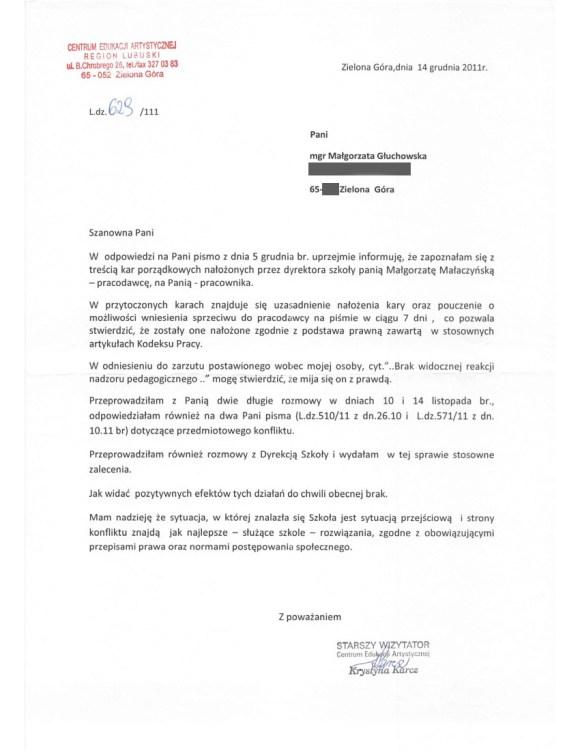 Krystyna Karcz, wizytator Centrum Edukacji Artystycznej w Ministerstwie Kultury, pismo do Małgorzaty Głuchowskiej, 14 grudnia 2011, 1