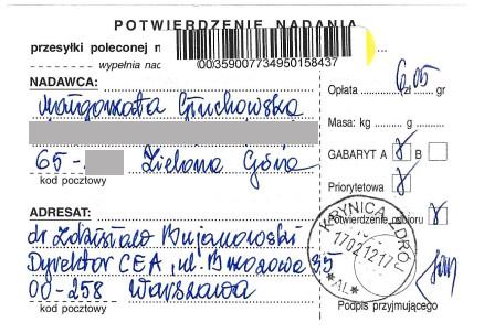 List Małgorzaty Głuchowskiej do Zdzisława Bujanowskiego, dyrektora Centrum Edukacji Artystycznej, Ministerstwo Kultury, list polecony, potwierdzenie nadania, 17 lutego 2012