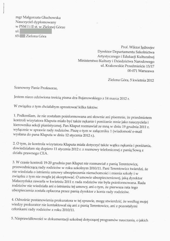 Małgorzata Głuchowska, list do Wiktora Jędrzejca, Wiceministra Kultury, 5 kwietnia 2012, strona 1