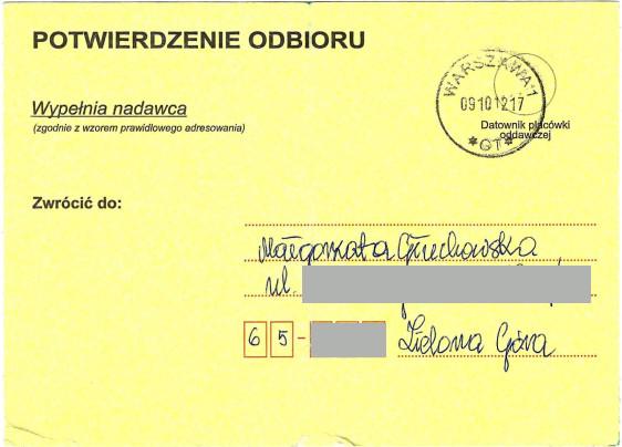 Małgorzata Głuchowska, list polecony. potwierdzenie odbioru, Bogdan Zdrojewski, 5 października 2010, strona 2