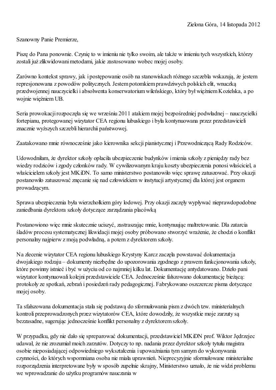 Małgorzata Głuchowska, list do Jarosława Kaczyńskiego 2 grudnia 2012, strona 2