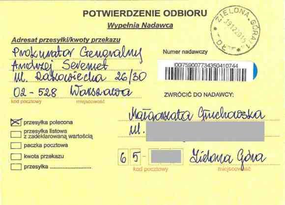 Delivery confirmation of certified letter from Małgorzata Głuchowska to Prosecutor General of Poland Andrzej Seremet 16 December 2015, page 1; Potwierdzenie dostarczenia listu poleconego Małgotrzaty Głuchowskiej do Prokuratora Generalnego Andrzeja Seremeta 16 grudnia 2015, strona 1