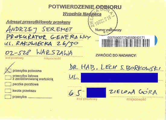 Potwierdzenie dostarczenia listu poleconego Małgorzaty Głuchowskiej do Prokuratora Generalnego Andrzeja Seremeta 19 lutego 2016, strona 1; Delivery confirmation of certified letter from Małgorzata Głuchowska to Prosecutor General of Poland Andrzej Seremet 19 February 2016, page 1