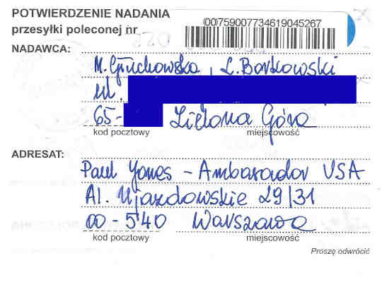 Confirmation of mailing, certified letter from Małgorzata Głuchowska and Lech S Borkowski to US Ambassador in Warsaw Paul Jones, 21 March 2016, page 1