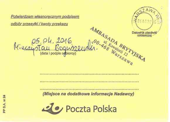 Confirmation of delivery, certified mail, letter from Małgorzata Głuchowska and Lech S Borkowski to UK Ambassador in Warsaw Robin Barnett, 2 April 2016, page 2