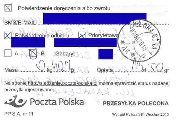 Proof of mailing, certified mail, letter from Małgorzata Głuchowska and Lech S Borkowski to UK Ambassador in Warsaw Robin Barnett, 2 April 2016, page 2