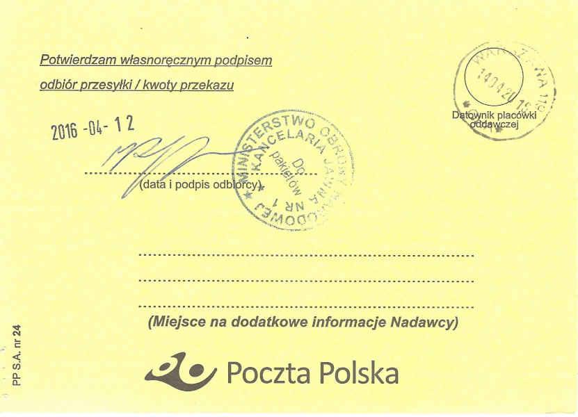 Potwierdzenie odbioru listu poleconego dra hab. Lecha S. Borkowski do ministra obrony Antoniego Macierewicza 11 kwietnia 2016, strona 2