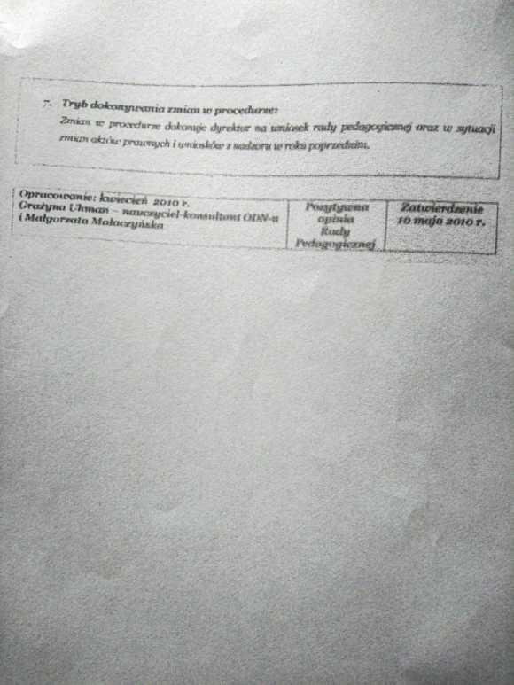 Fałszywy dokument procedury wypełniania dzienników lekcyjnych i dzienników zajęć, strona 2, Państwowa Szkoła Muzyczna w Zielonej Górze
