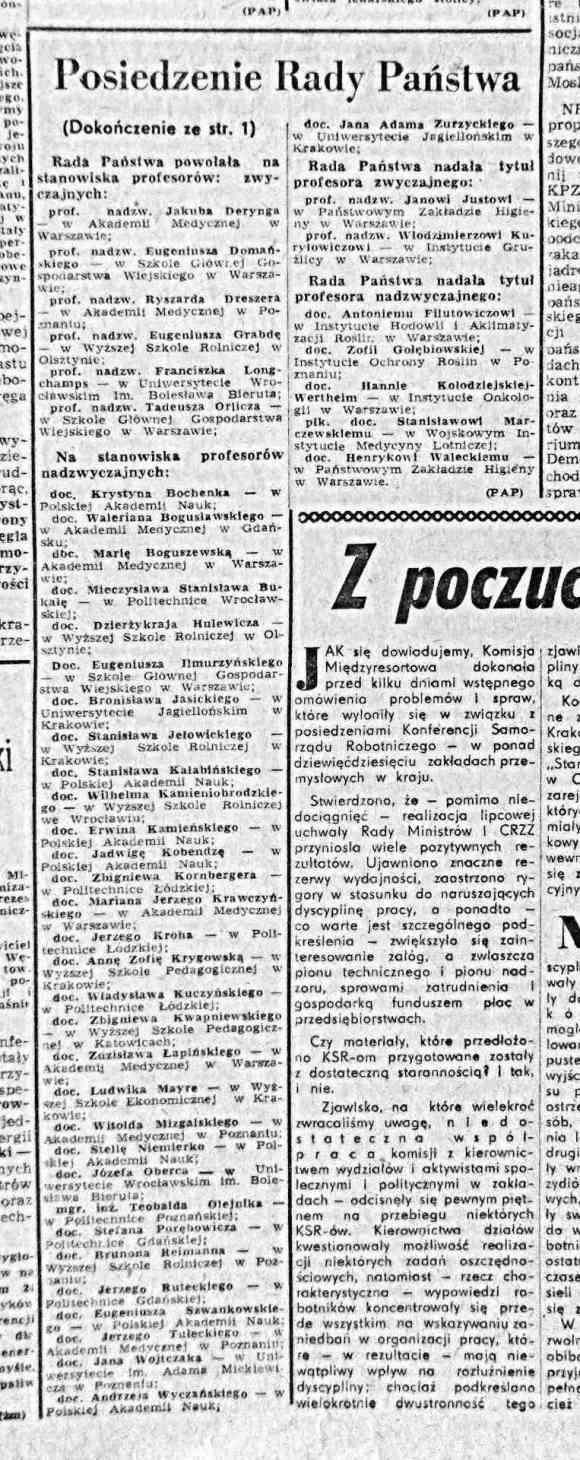 Trybuna Ludu 25 września 1963, mianowani przez Radę Państwa na profesorów