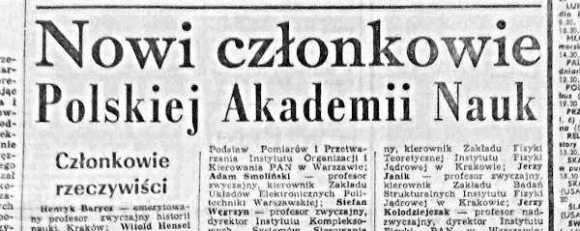 Nowi członkowie PAN, Trybuna Ludu 11 stycznia 1974