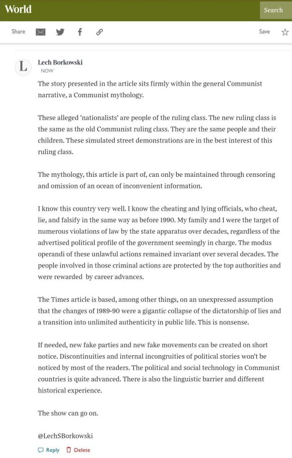 Lech S Borkowski comment The Times 12 November 2020