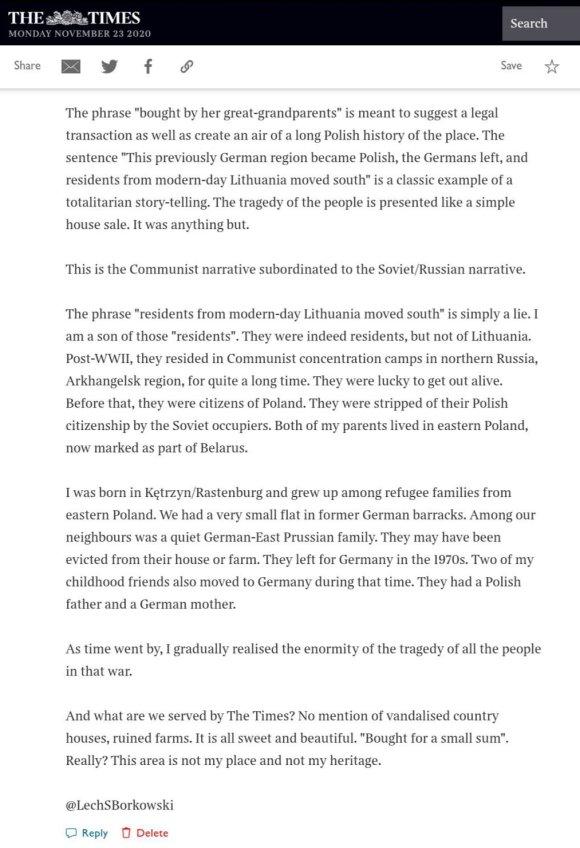 Lech S Borkowski comment The Times 27 September 2020 part 2