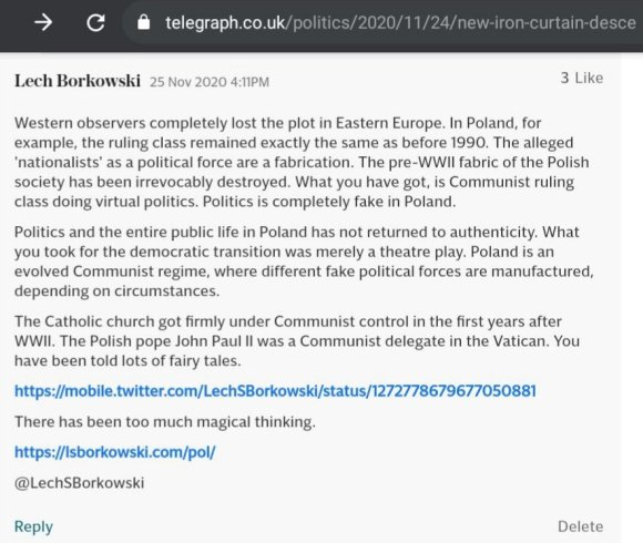 Lech S Borkowski comment The Telegraph 25 November 2020