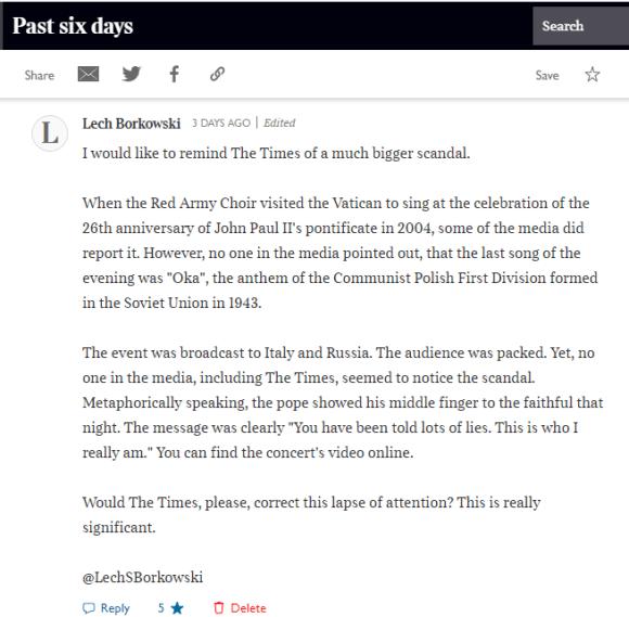 Lech S Borkowski comment The Times 10 December 2020