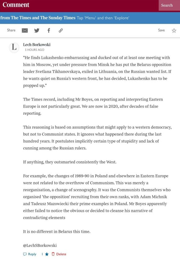 Lech S Borkowski, comment The Times 21 October 2020