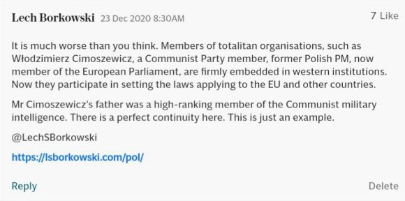 Lech S Borkowski comment in The Telegraph 23 December 2020