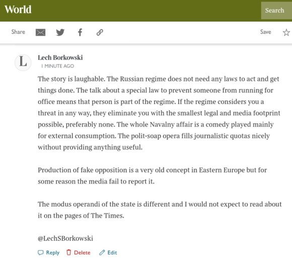 Lech S Borkowski comment The Times 10 February 2021