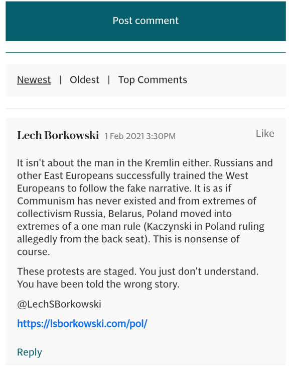 Lech S Borkowski comment in The Telegraph 1 February 2021