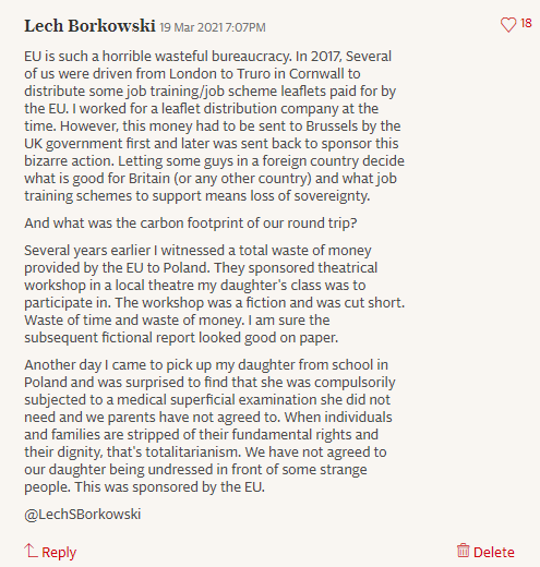 Lech S Borkowski comment in The Telegraph 19 March 2021