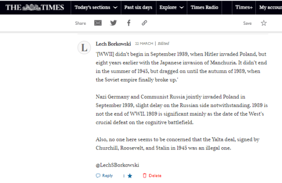 Lech S Borkowski comment in The Sunday Times 22 March 2021