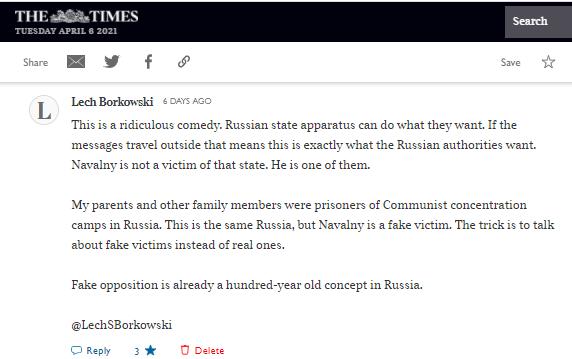 Lech S Borkowski comment The Times 30 March 2021