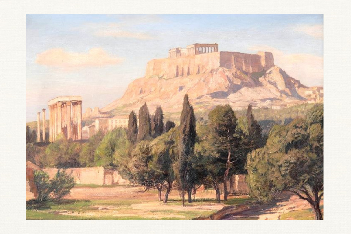 The View of Acropolis of Athens and the Olympieon karya Georg Macco