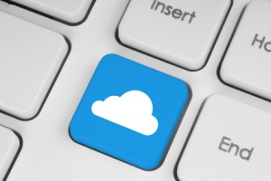 Cloud computing concept on computer keyboard