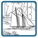 Lighthouse and sailing ship landscape scene patterns by Lora S Irish