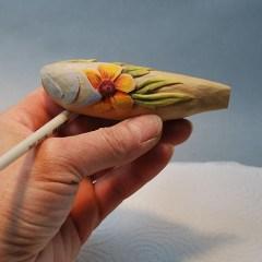 wood carved fish decoy by Lora Irish