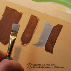 Brush strokes used to paint your wood carving, taught by Lora Irish