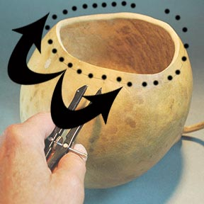 round reed rimmed gourd