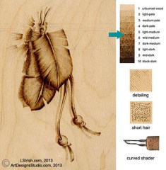 creating a detailed wood burned feather