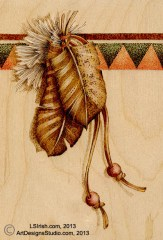 pyrography feather border by Lora Irish