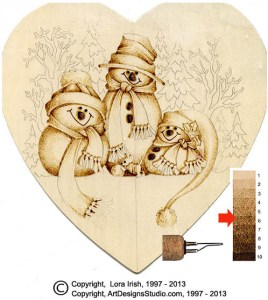 snowmen pyrography project