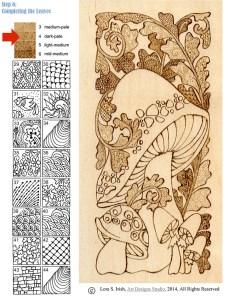 Pyrography Doodle Mushroom by Irish, step 6