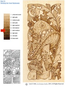 Pyrography Doodle Mushroom, step 13
