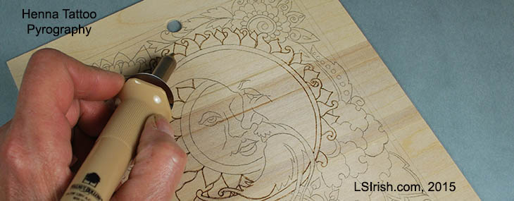 Henna Tattoo Pyrography Project by Lora Irish