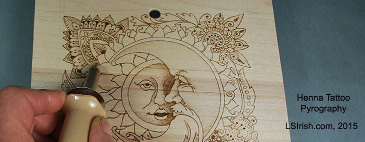Henna Tattoo Moon Face Pyrography Project