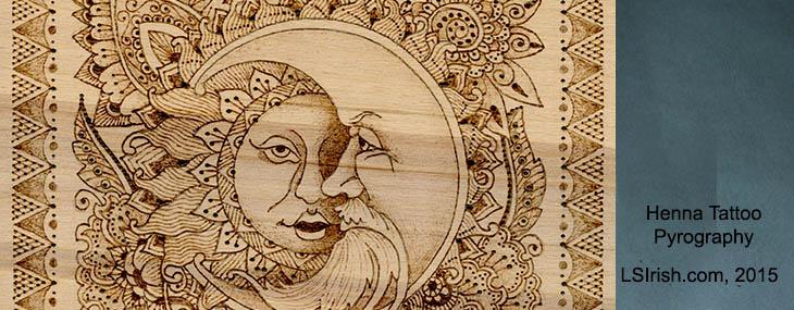 Henna Moon Pyrography Project by Lora Irish