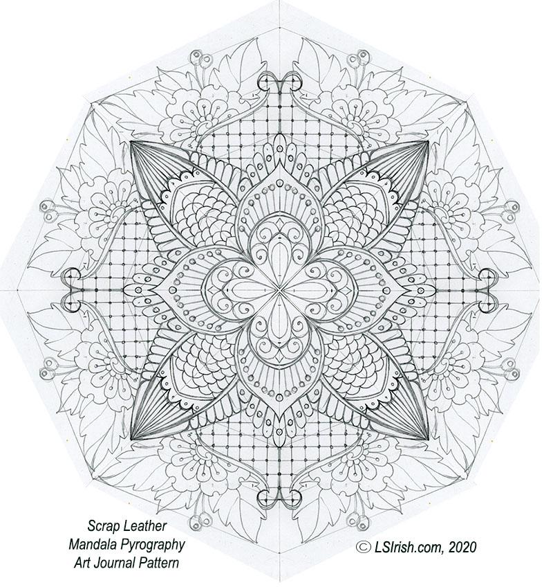 mandala leather journal pattern