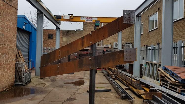 steel work destined for Horatio's Garden, Stoke Mandeville Hospital, at the LSJ Engineering headquarters in Shoeburyness, Essex