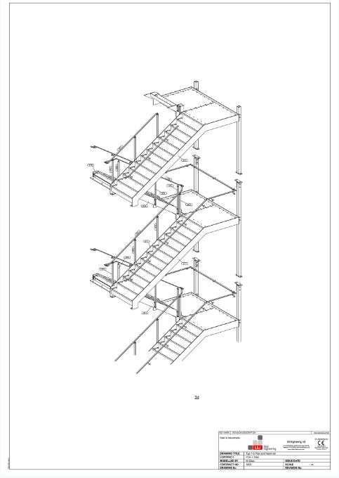 drawing of nine story fire escape by LSJ Engineering