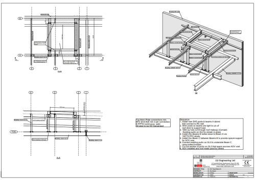 drawing on secondary structural steelwork for Comcast at City Island, East London, by LSJ Engineering, Essex