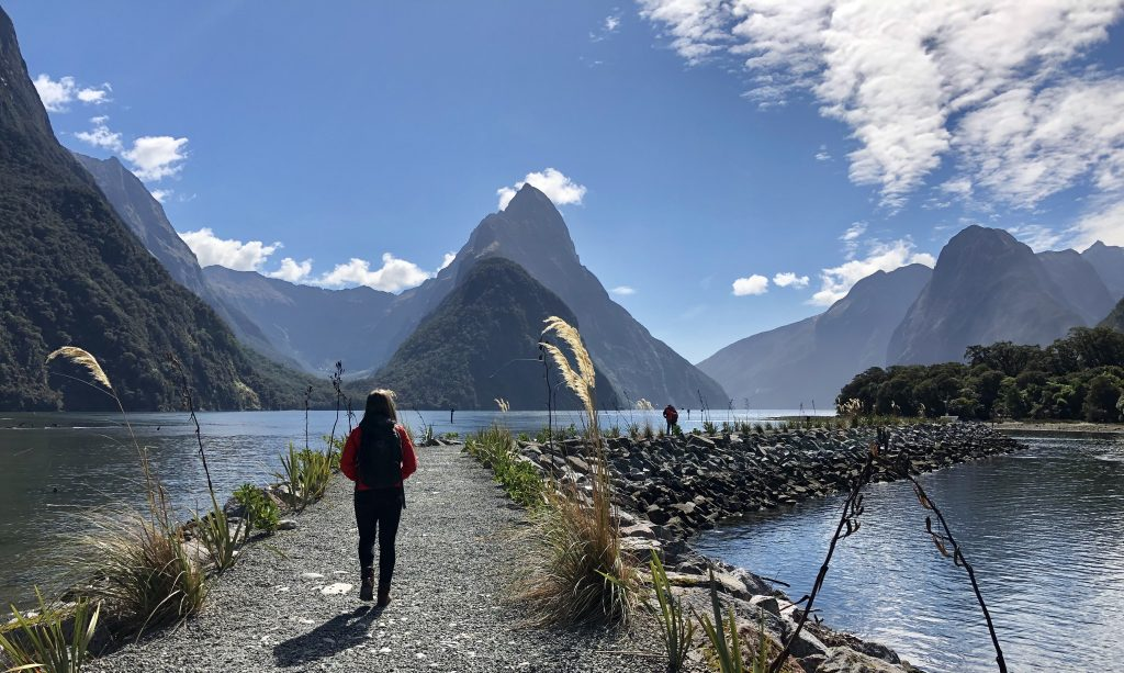 Mitre Peak view at Milford Sound cruise terminal, Fiordland, New Zealand