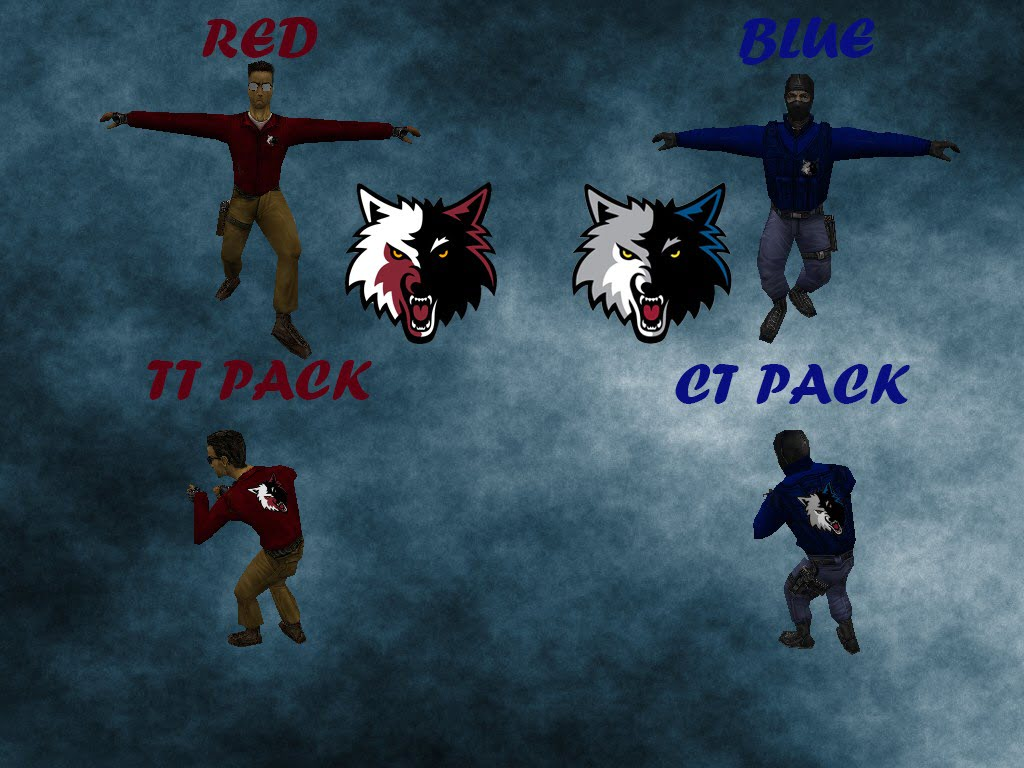Red & Blue Wolf Models