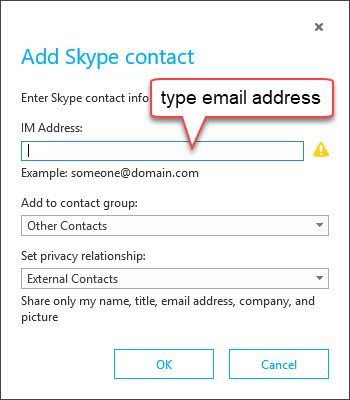 Add new Skype contact