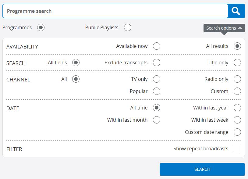 BoB search filterrs