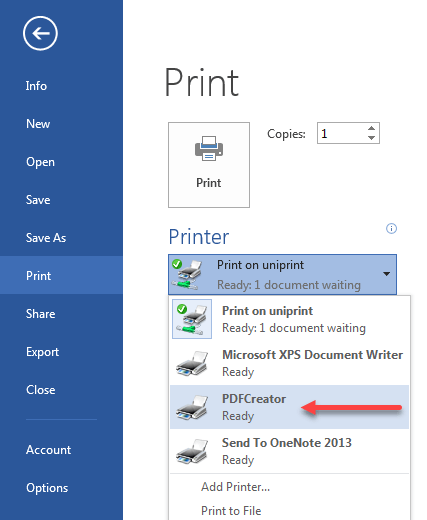 Microsoft print as PDF option