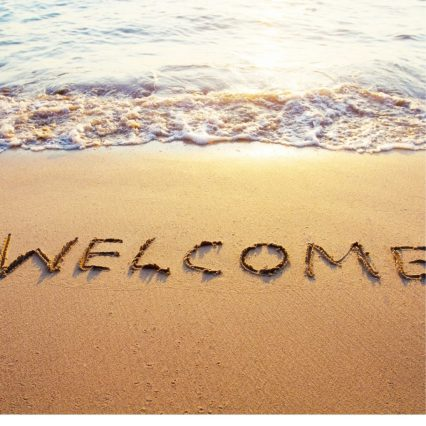 Image of a beach with the word 'welcome' drawn into the sand, as my way to welcome you to The Lost Labia Chronicles (aka TLLC).